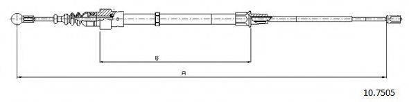 CABOR 107505 Трос, стояночная тормозная система