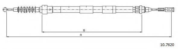 CABOR 107620 Трос, стояночная тормозная система