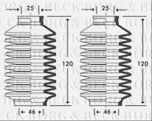 BORG & BECK BSG3261 Пыльник рулевой рейки