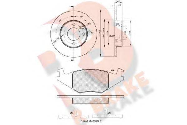 R BRAKE 3R04613325 Комплект тормозов, дисковый тормозной механизм