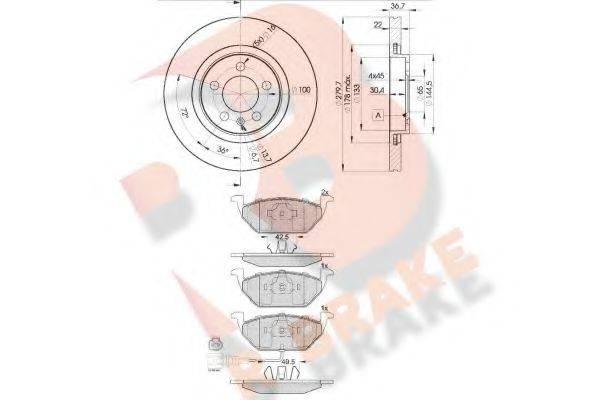 R BRAKE 3R13495603 Комплект тормозов, дисковый тормозной механизм