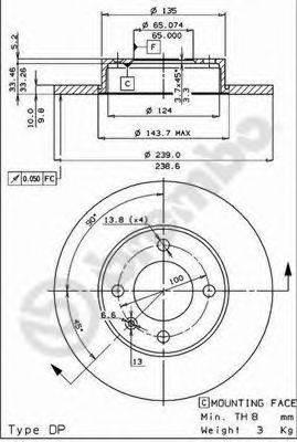 BREMBO 08263134 Тормозной диск