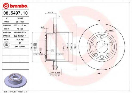 BREMBO 08549710 Тормозной диск
