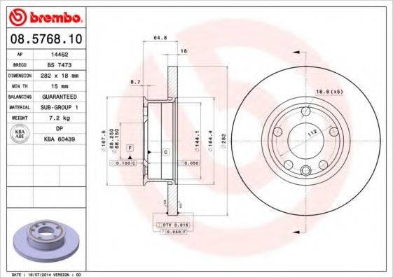 BREMBO 08576810 Тормозной диск