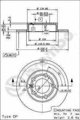 BREMBO 08716511 Тормозной диск