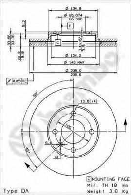 BREMBO 09476514 Тормозной диск
