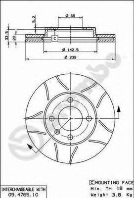 BREMBO 09476575 Тормозной диск