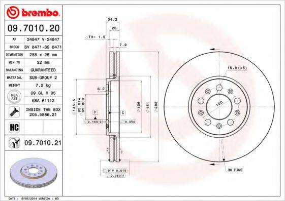 BREMBO 09701021 Тормозной диск