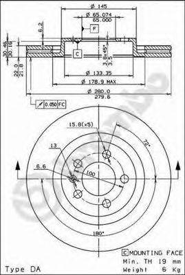 BREMBO 09701211 Тормозной диск