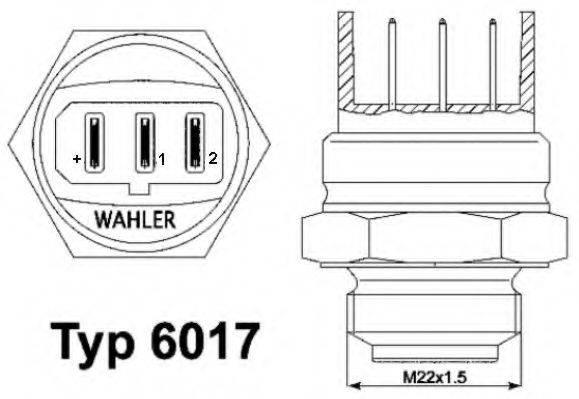 WAHLER 601795D Термовыключатель, вентилятор радиатора; Термовыключатель, вентилятор радиатора