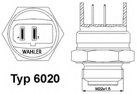 WAHLER 602095D Термовыключатель, вентилятор радиатора; Термовыключатель, вентилятор радиатора