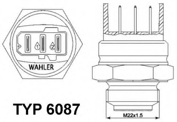 WAHLER 608787D Термовыключатель, вентилятор радиатора