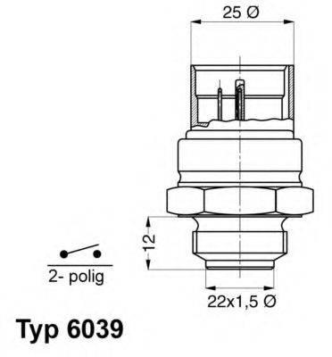 WAHLER 603995D Термовыключатель, вентилятор радиатора