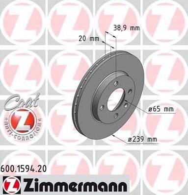ZIMMERMANN 600159420 Тормозной диск