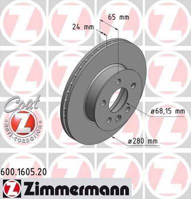 ZIMMERMANN 600160520 Тормозной диск