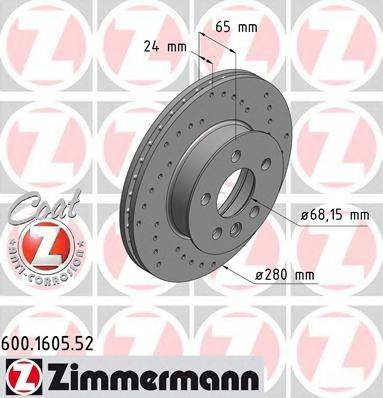 ZIMMERMANN 600160552 Тормозной диск