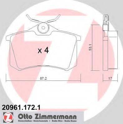 ZIMMERMANN 209611721 Тормозные колодки