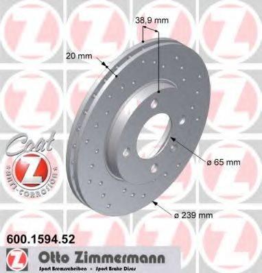 ZIMMERMANN 600159452 Тормозной диск