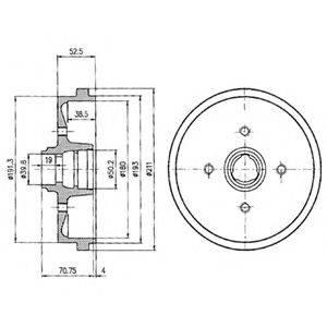 DELPHI BF96 Тормозной барабан