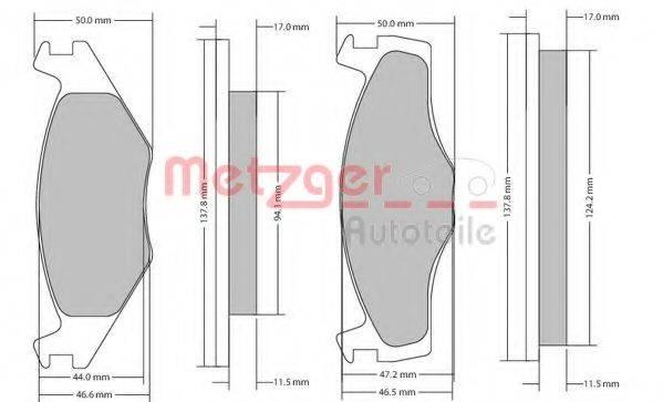 METZGER 1170103 Тормозные колодки